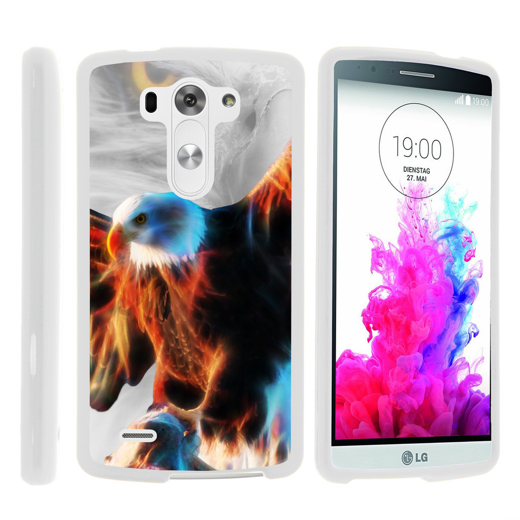 LG G3 D850, LS990, VS985, [SNAP SHELL][White] 2 Piece Snap On Rubberized Hard White Plastic Cell Phone Case with Exclusive Art -  Blazing Eagle