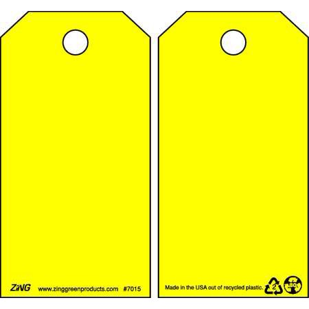 ZING 7015 Danger Tag, 5-3/4 x 3 In, Yel, Plstc, PK10