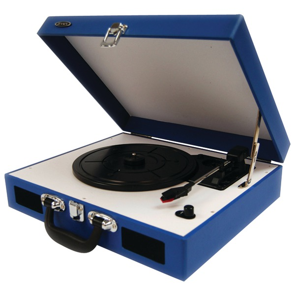 Jensen JTA-410-BL Portable 3-Speed Stereo Turntable with Built-In Speakers, Blue by Jensen