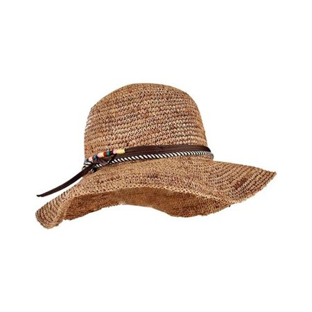 Women's San Diego Hat Company Crochet Raffia Round Crown Floppy Sun Hat RHM6008 Coffee One Size (Raffia Crochet Hat)
