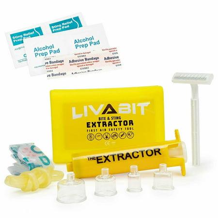 - LIVABIT Emergency Venom Extractor Snake Bite & Sting Suction Pump + Bonus CPR Shield Mask First Aid Safety Medic Treatment Kit