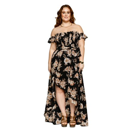 8bb87b4298455 Xehar - Xehar Women's Plus Size Sexy Off Shoulder Asymmetrical Flowy Floral  Long Maxi Dress - Walmart.com