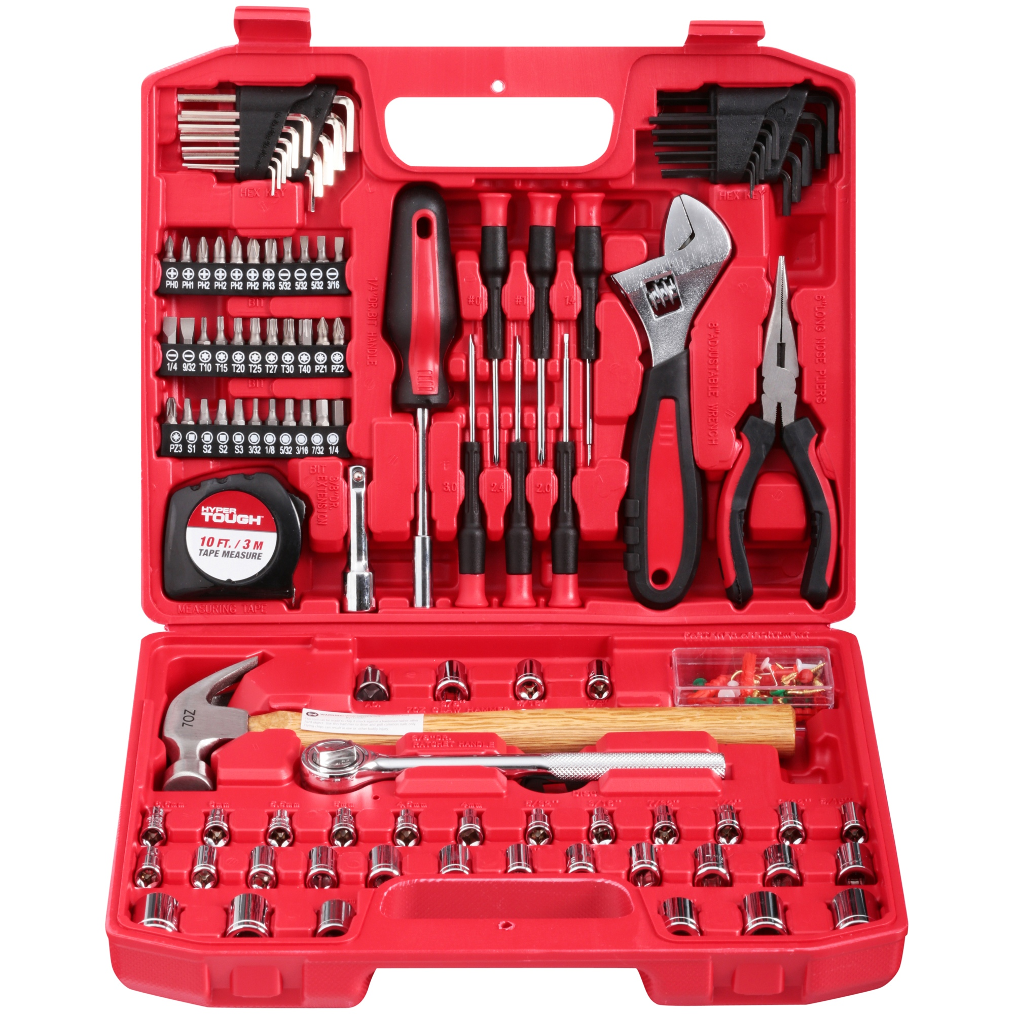"Hyper Tough 110-Piece 1/4"" and 3/8"" Drive Home Repair Tool Set"