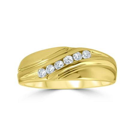 14k Mens Diamond Rings - Mens 14K Yellow Gold 1/4ct Diamond Wedding Ring Band
