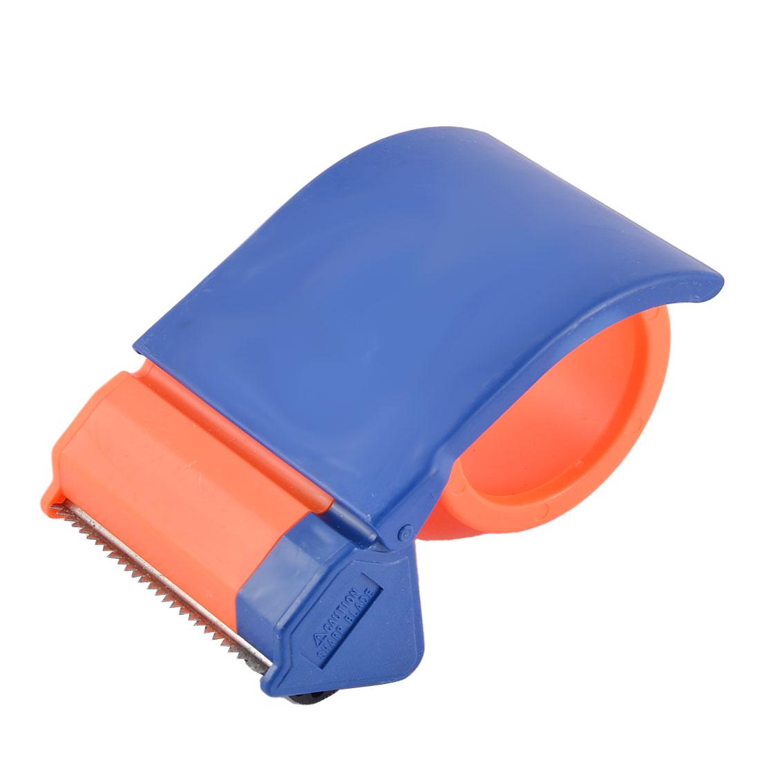 School Office Plastic Sealing Packaging Tape Dispenser Blue Orange 3-inches Wide