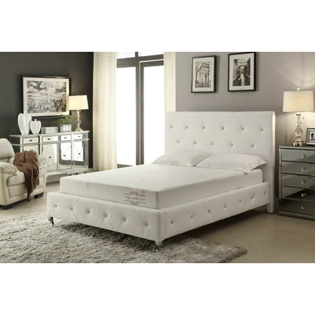 - AC Pacific White Modern Crystal Tufted Cal King Bed
