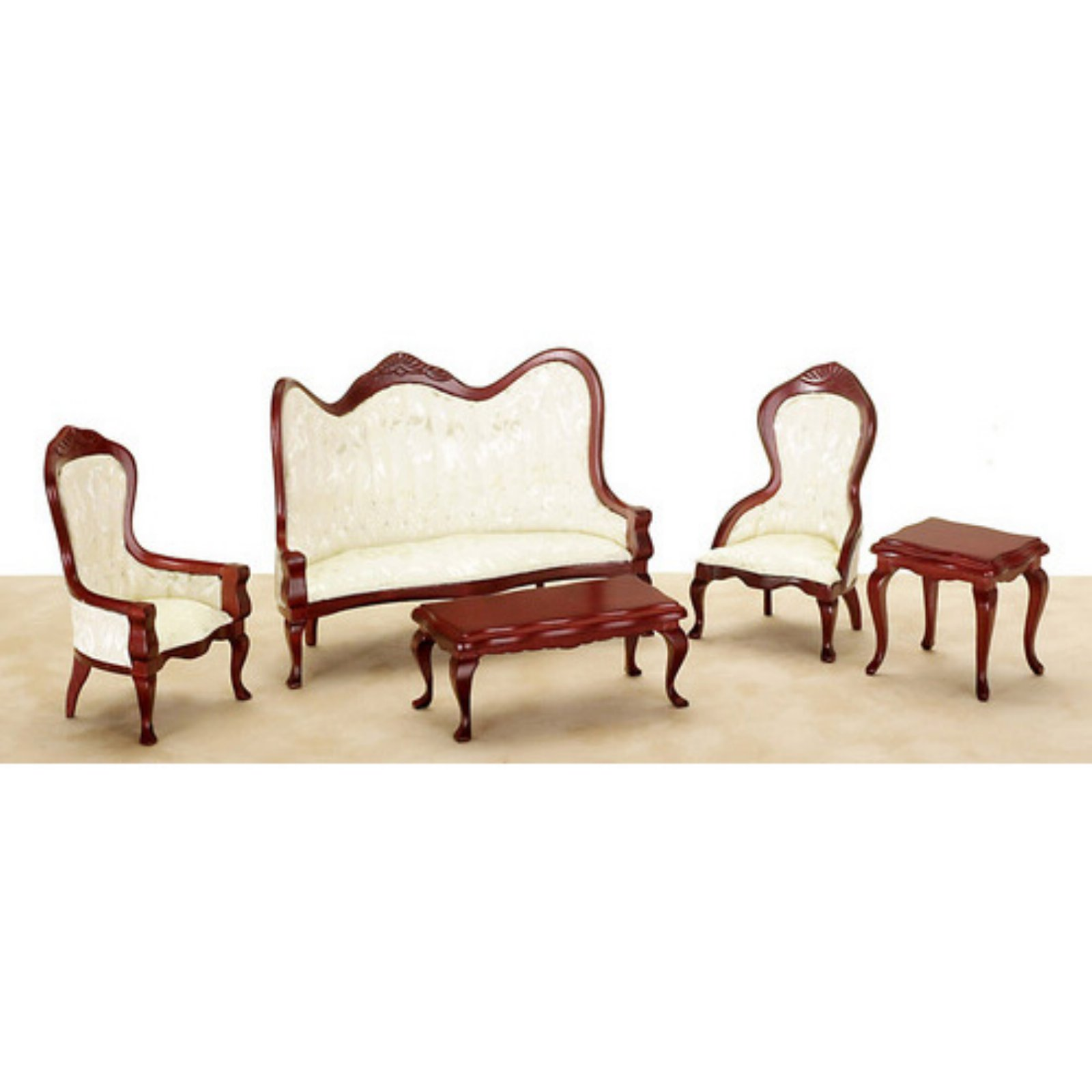 Town Square Miniatures Mahogany and White Victorian Living Room Set