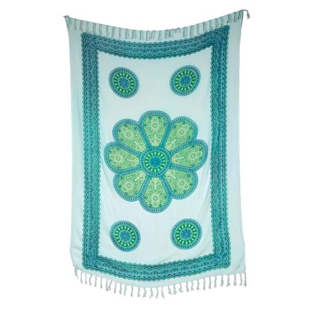 Rayon Wall Lighting - Sita Medallion Tapestry, Wall Hanging, and Bedspread (3 X 5.5 Feet, White and Teal, 100% Rayon)