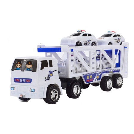 Large Double Deck Trailer With Four Mini Police Cars To Transport Big Truck toys 2019 (Best Hybrid Trailers 2019)