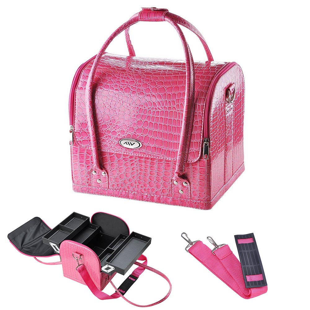 AW Pink Crocodile Makeup Train Bag Handbag Case w/ Removable Tray Cosmetic Jewelry