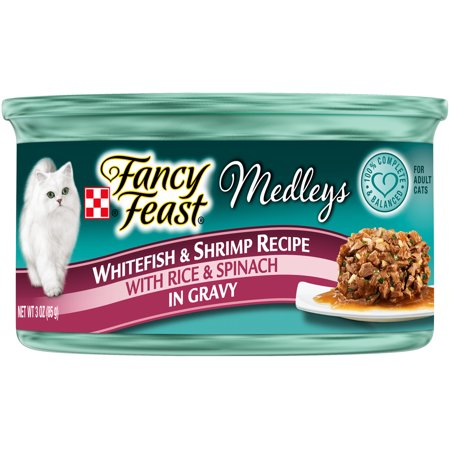 (24 Pack) Fancy Feast Medleys Whitefish & Shrimp Recipe Wet Cat Food, 3 oz.