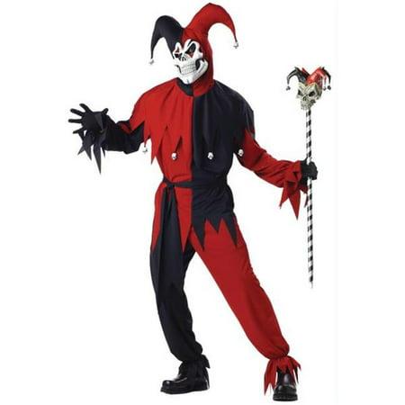 Morris Costumes CC00746MD Jester Evil Men Med 40-42 (Red And Black Jester Costume)