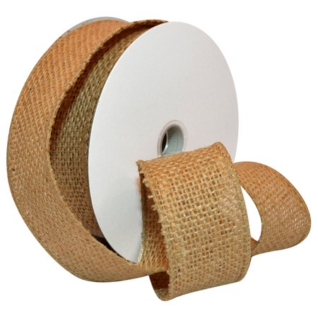 Pom Pom Wired Ribbon - Morex Ribbon, Wired Burlap Ribbon, 1-1/2 in x 10 yd, Natural