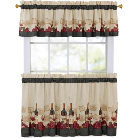 mainstays vineyard 3 piece kitchen curtain set. Black Bedroom Furniture Sets. Home Design Ideas