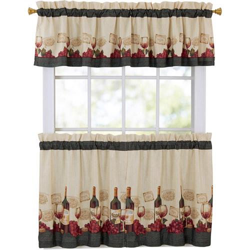 Mainstays Vineyard 3-Piece Kitchen Curtain Set