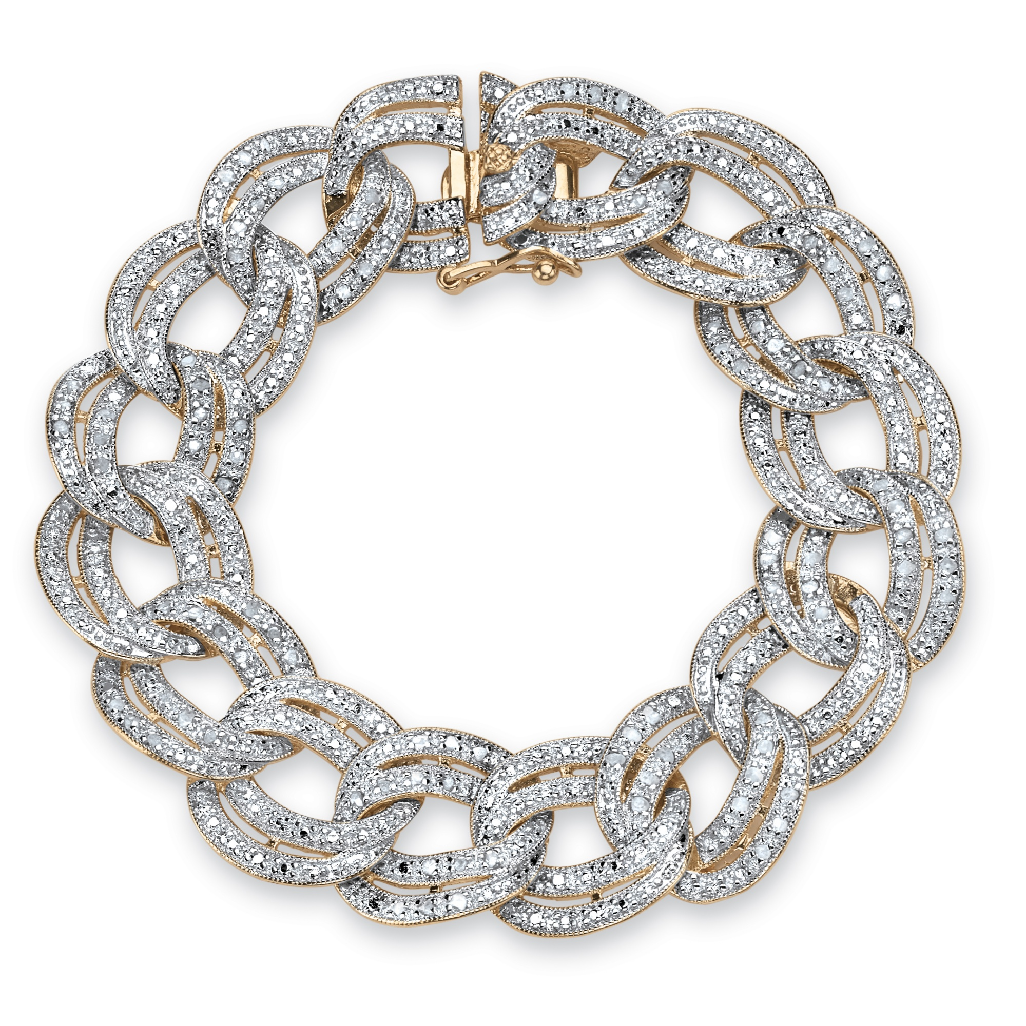 7/8 TCW Diamond Double Rolo-Link Bracelet 18k Yellow Gold-Plated