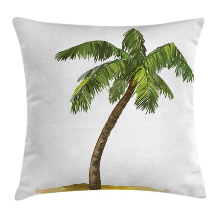 Palm Tree Decor Throw Pillow Cushion Cover, Cartoon Palms Image Tropical Plant and Sand Serenity Nature Foliage Print, Decorative Square Accent Pillow Case, 16 X 16 Inches, Green Brown, by Ambesonne (Tropical Foliage)