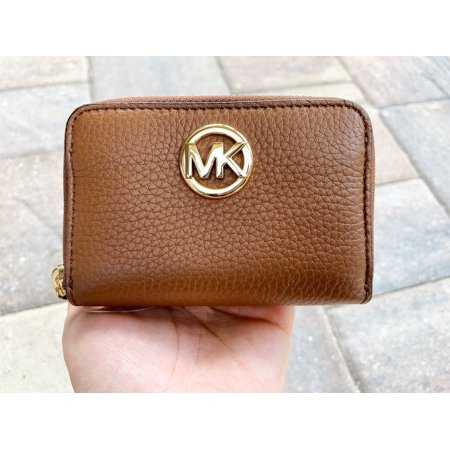 Michael Kors Luggage Leather - Michael Kors Fulton Coin Case Small Wallet Luggage Brown Pebble Leather