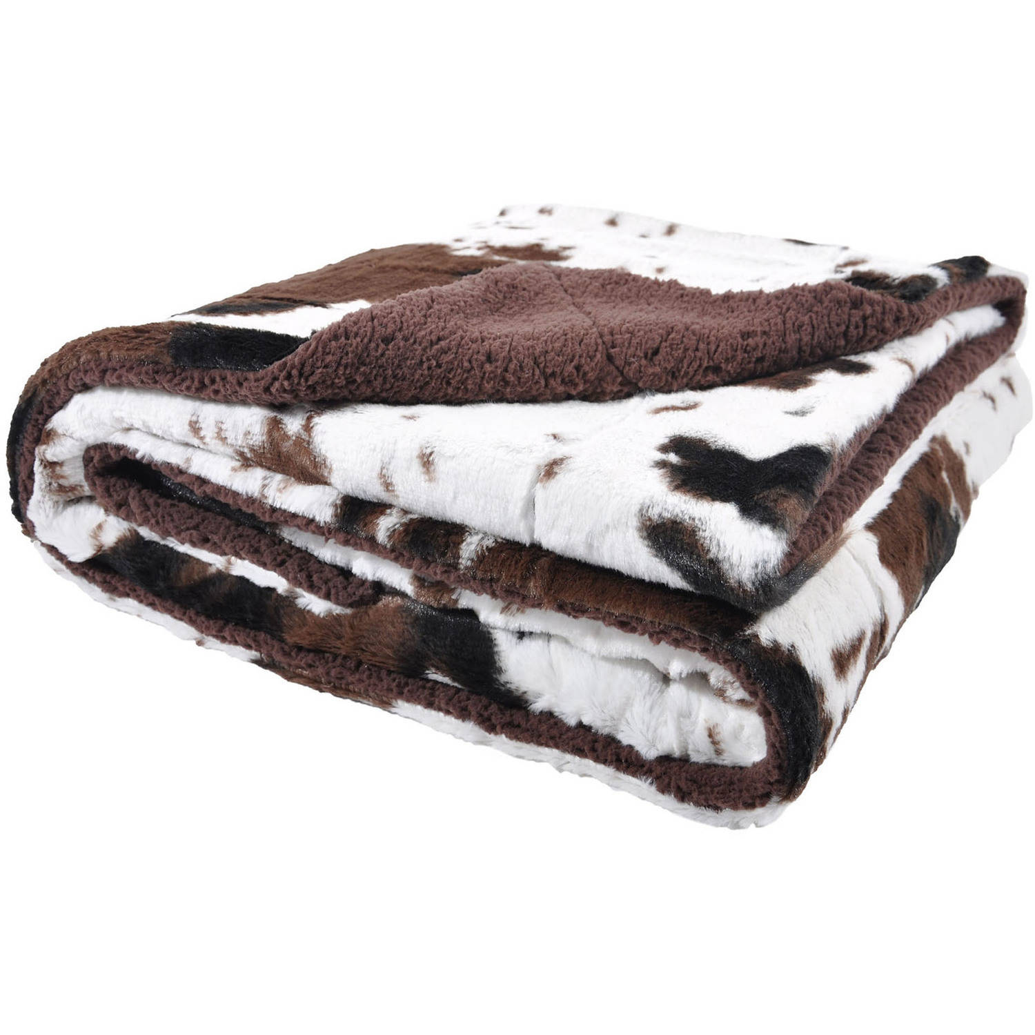 Cowhide Print and Sherpa Plush Throw Blanket, Brown by Sleeping Partners
