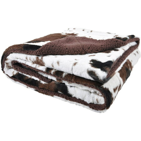 Cowhide Print and Sherpa Plush Throw Blanket, Brown (Bear Skin Blanket)
