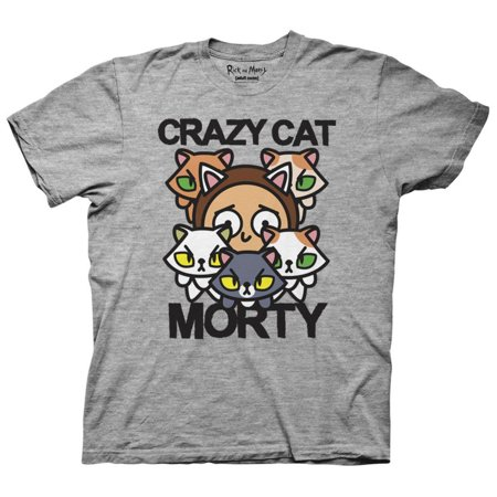 Rick And Morty- Crazy Cat Morty Apparel T-Shirt - Grey ()