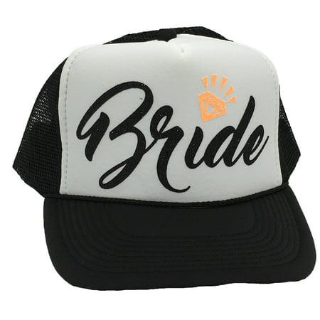 Bachelorette Party Bride Tribe Mesh Trucker Snap Back Hat (Black Hat/White Panel, Black Bride/Neon Orange - Black Bachelorette Party