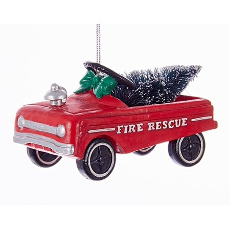 Kurt Adler Red Pedal Car Fire Rescue With Tree Vintage Look  Holiday - Holiday Loops