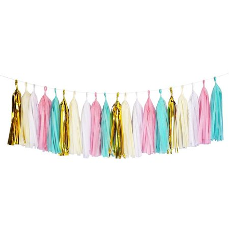 Mint, Pink, White, and Gold Tassel Garland, 9ft - Black And Gold Garland