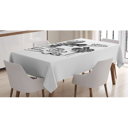Movie Theater Tablecloth, Cinematography Themed Artwork with Old Camera and Equipment Silver Screen, Rectangular Table Cover for Dining Room Kitchen, 60 X 84 Inches, Black White, by Ambesonne (Movie Themed Table Decorations)