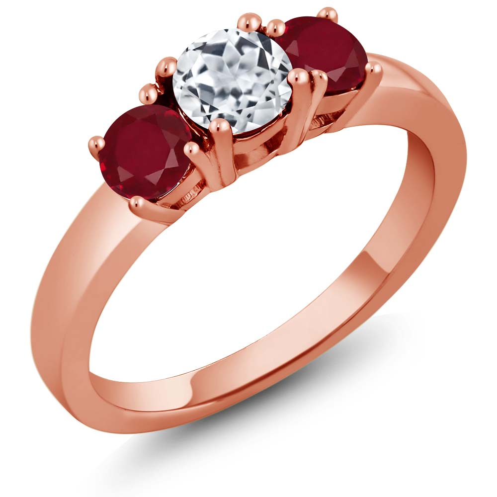 1.20 Ct Round White Topaz Red Ruby 925 Rose Gold Plated Silver 3-Stone Ring