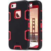 iPhone SE Case 2016,iPhone 5S 5 Case,ULAK Heavy Duty Shockproof Sport Rugged Drop Resistant Dust proof Protective Case Cover for Apple iPhone 5 5S SE, not fit iPhone SE 2020-Red