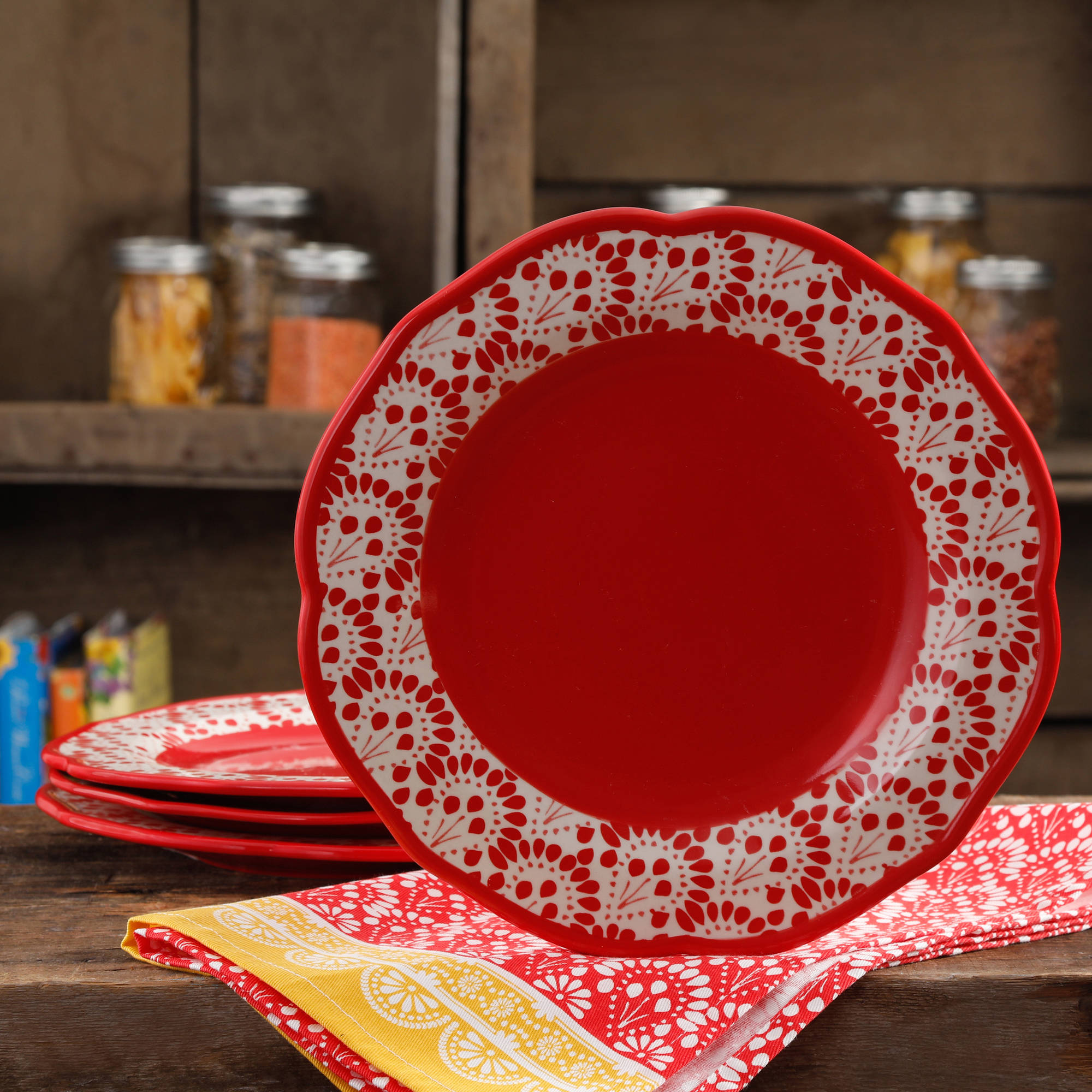 The Pioneer Woman Betsy 10.5  Dinner Plate Set ... & The Pioneer Woman Betsy 10.5