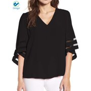 Deago Women's Plus Size V Neck Mesh Panel Blouse Lace Patchwork 3/4 Bell Sleeve Casual Loose Shirt Tops (Black/5XL)