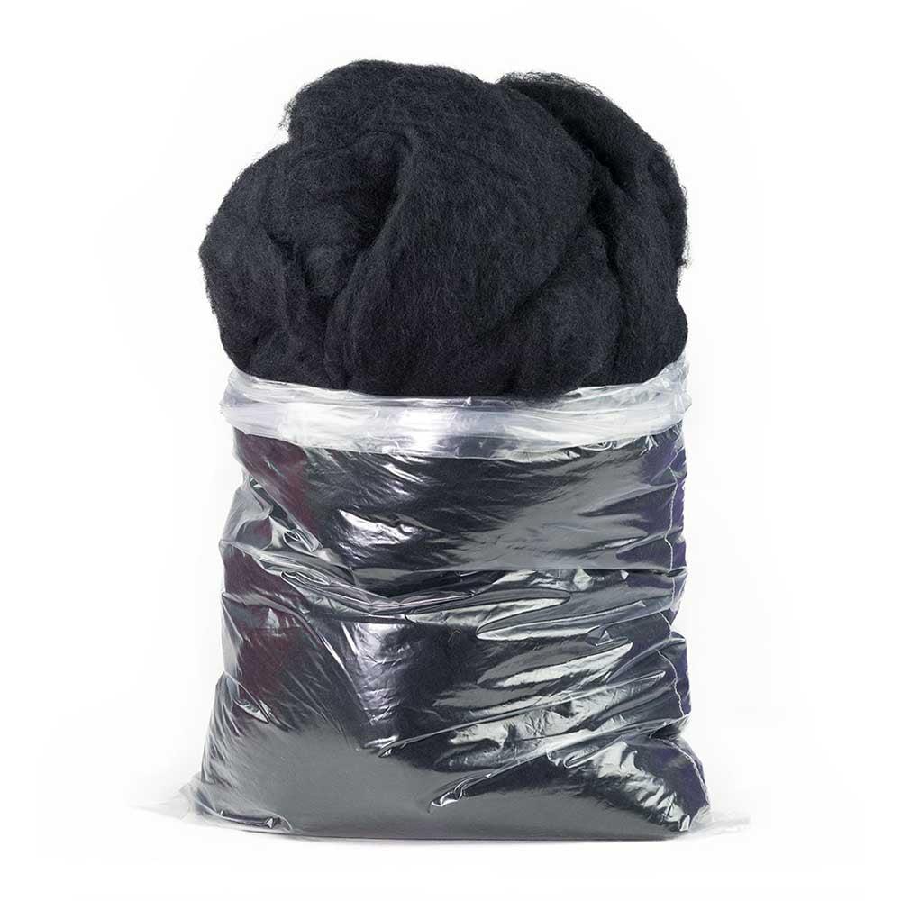 Carded Carbonized Felting Wool: 1 LB Bag, White