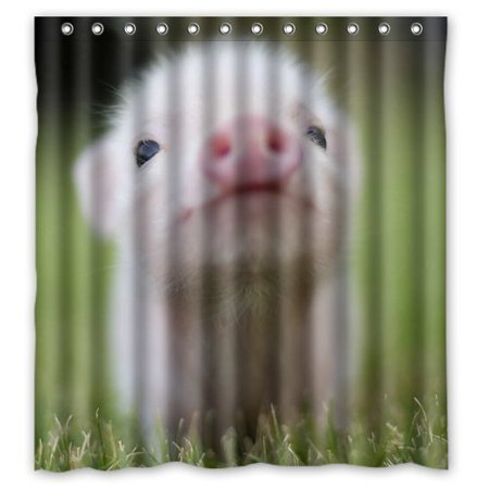 HelloDecor Mini Pig Pet Shower Curtain Polyester Fabric Bathroom Decorative Size 66x72 Inches