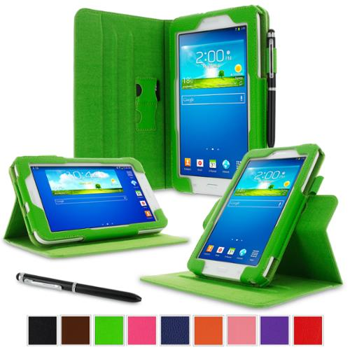 "rooCASE Samsung Galaxy Tab 3 7.0 Lite Case - Dual View Multi-Angle Stand 7-Inch 7"" Tablet Case - GREEN"