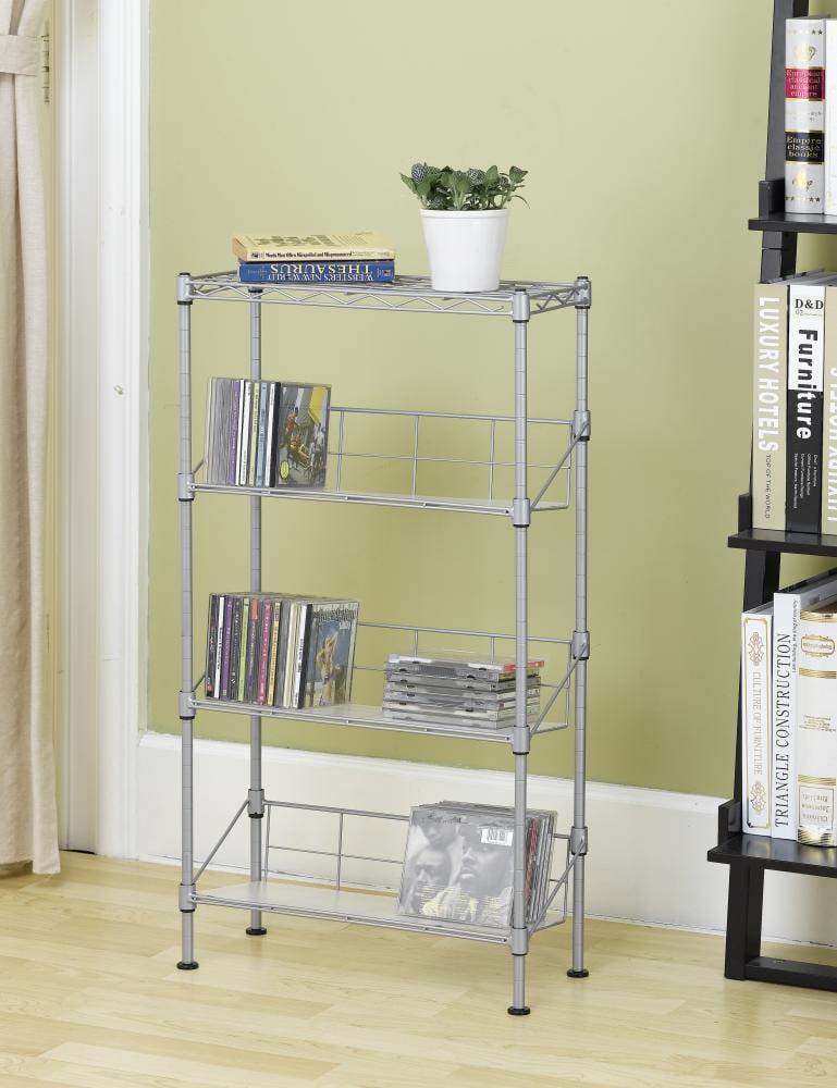 New Silver 4-Tier Media Rack CD Rack Stand Racks Organizer Storage Rack by