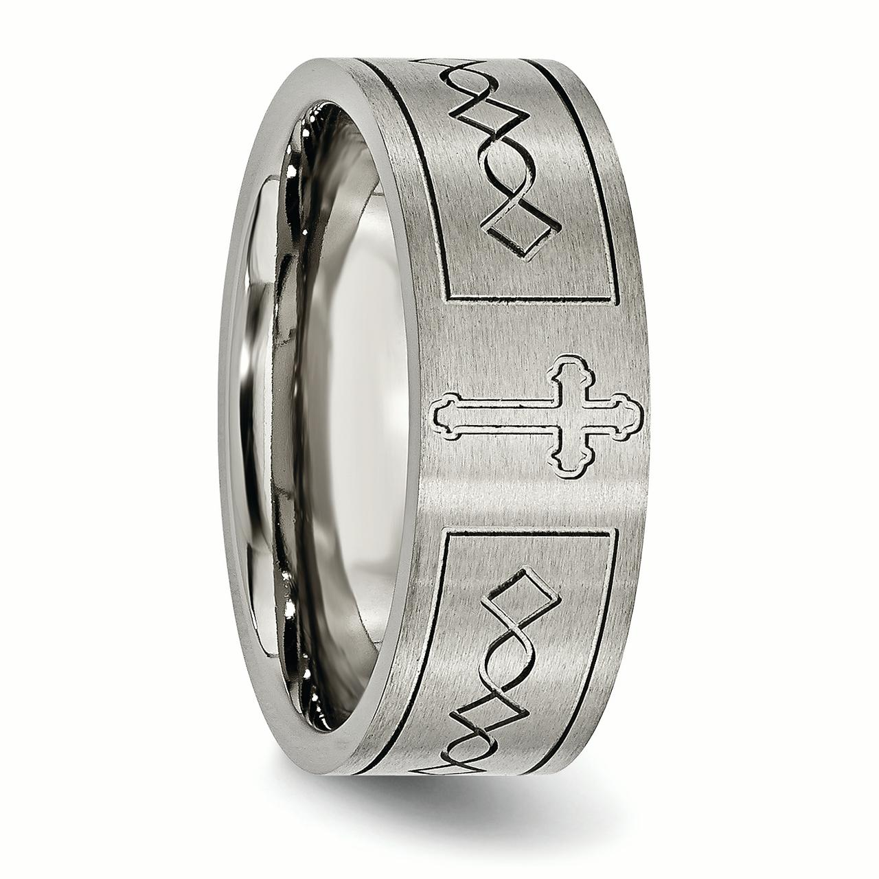 Titanium Cross Design Flat 8mm Brushed Band Best Quality Free Gift Box
