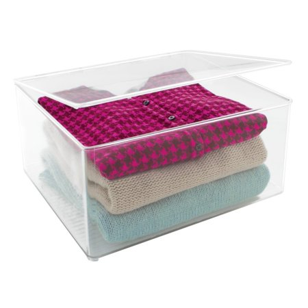 Mdesign Plastic Closet Organizer Clothing Storage Box With Lid For Shirts Sweaters Pants Large Clear