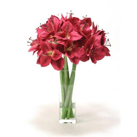 - Distinctive Designs 16011D Waterlook Silk Plum Amaryllis in a Tall Square Glass Vase