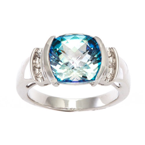 3 Carat T.G.W. Neptune Garden Coated Topaz and Diamond Accent Ring in 10kt White Gold