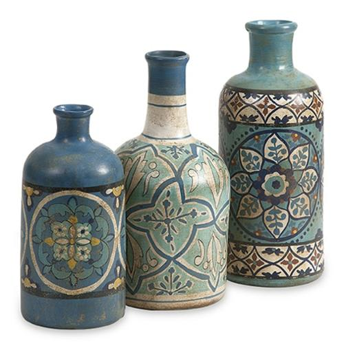 Set of 3 Haani Middle Eastern Inspired Hand Painted Decorative Bottles