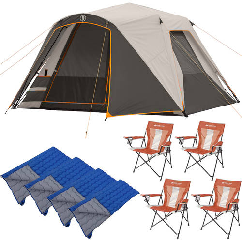 Bushnell 6 Person Tent with 4 Chairs and 4 Sleeping Bags Value Bundle