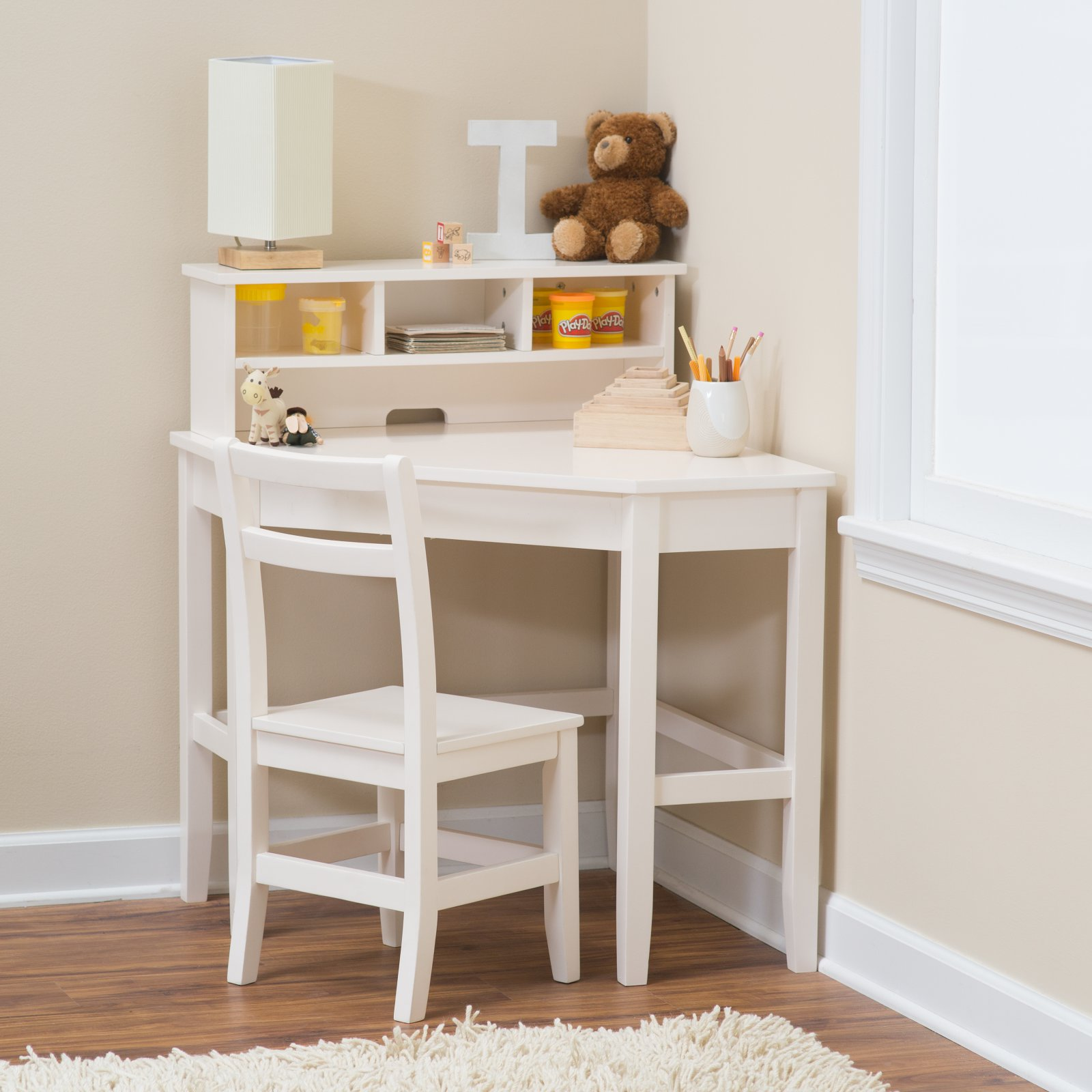 Classic Playtime Juvenile Corner Desk and Reversible Hutch with Chair - Vanilla
