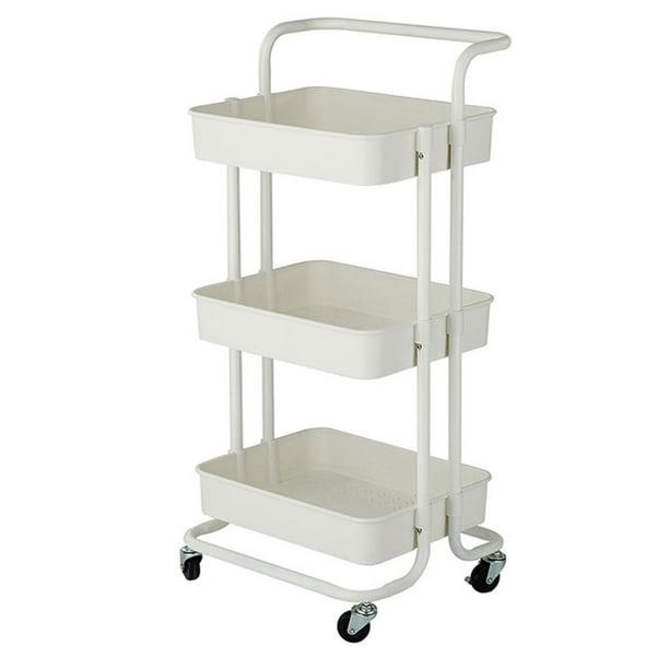 3 Tier Storage Utility Cart With Handle Metal Home Kitchen Rolling Utility Storage Service Cart Walmart Com Walmart Com