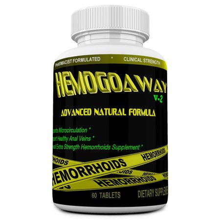 HEMOGOAWAY Natural Hemorrhoid Support and Pain Relief Pills. (Clinical Strength 1600Mg).