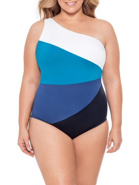 Time and Tru Women's Plus Size One Shoulder Colorblock One Piece Swimsuit