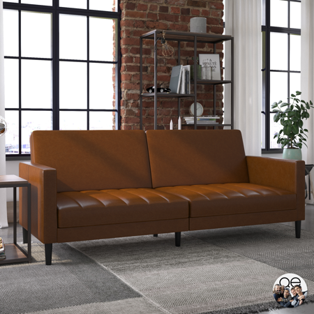 Queer Eye Liam Sofa Bed, Camel Faux Leather