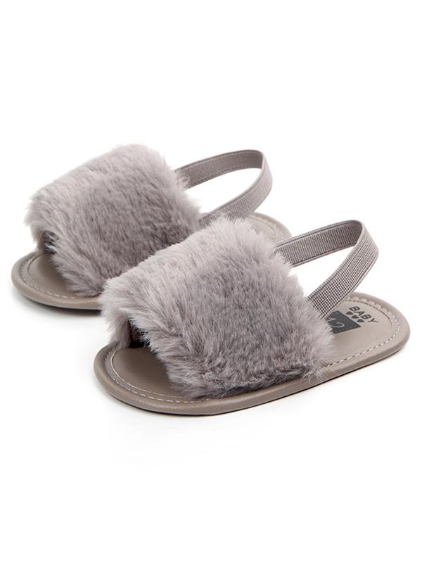 Newborn Baby Girls Soft Sole Crib Shoes Fluffy Fur Slippers Sandals 0-18M