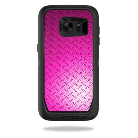 MightySkins Protective Vinyl Skin Decal for OtterBox DefenderSamsung Galaxy S7 Edge Case wrap cover sticker skins Pink Diamond Plate